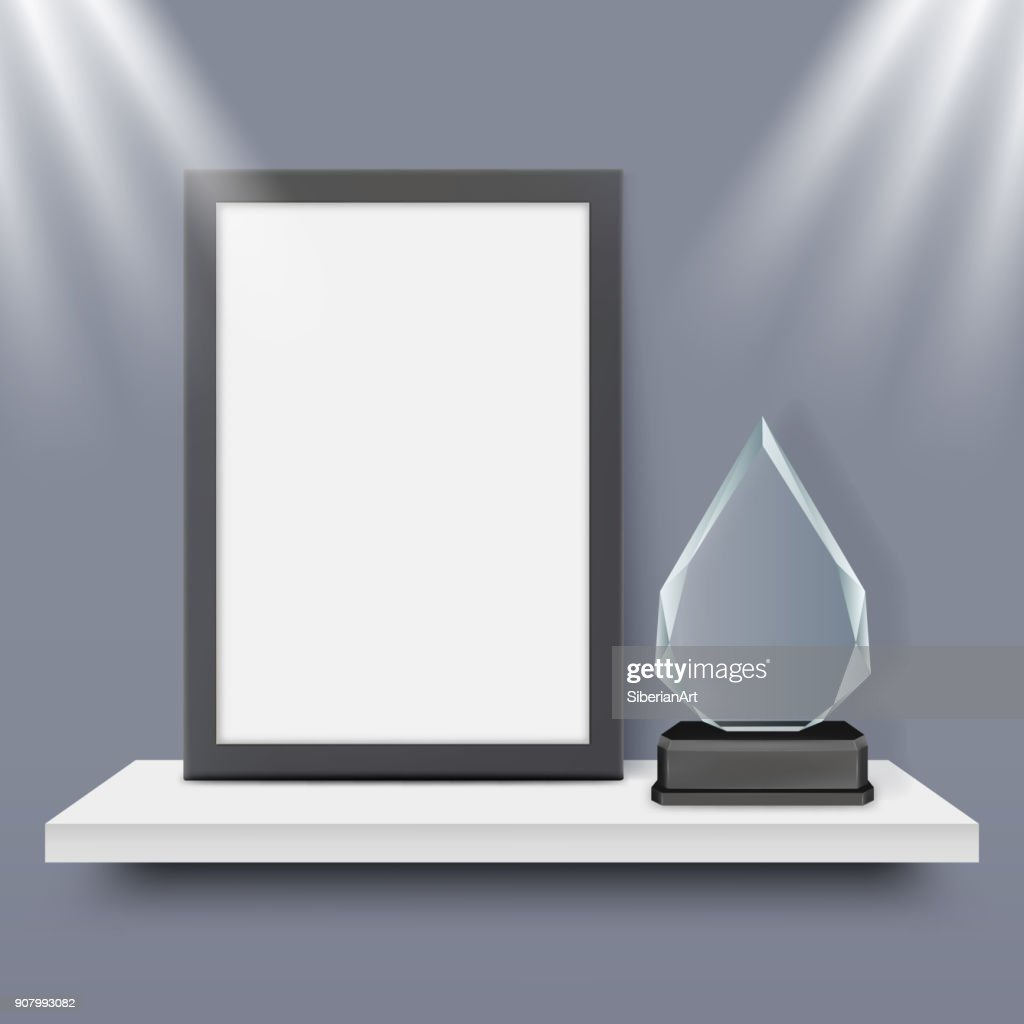 Blank black frame and glass award trophy vector realistic illustration