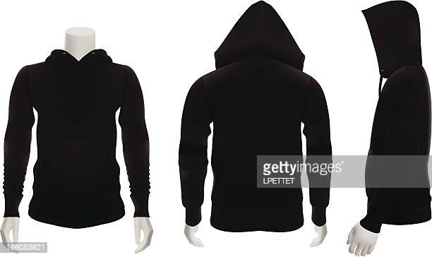stockillustraties, clipart, cartoons en iconen met blank black hoodie perfect for mock ups - capuchon