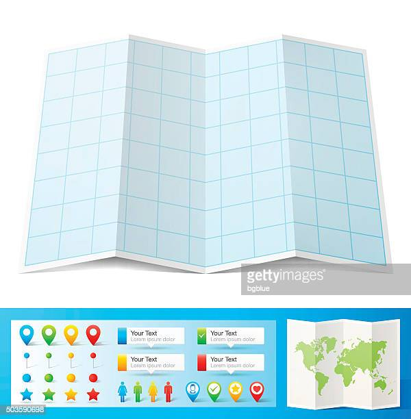 Blank blue graph paper with location pins isolated, white Background