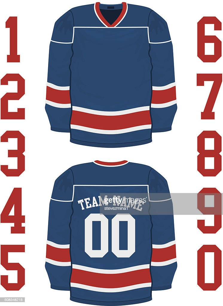 A blank blue hockey jersey has red and white stripes.