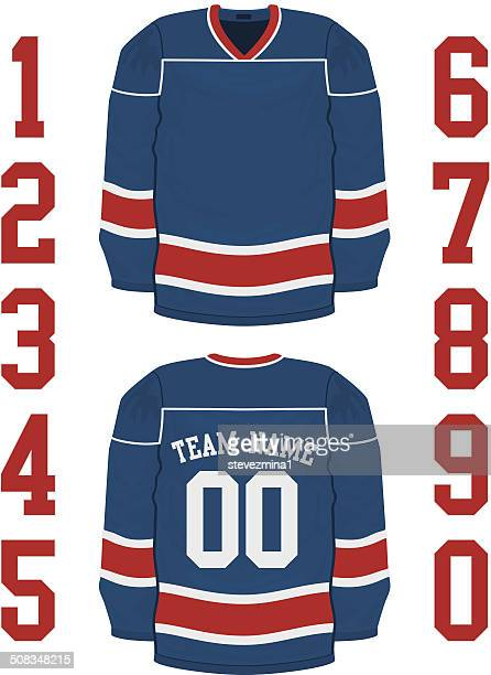 a blank blue hockey jersey has red and white stripes. - hockey stock illustrations, clip art, cartoons, & icons