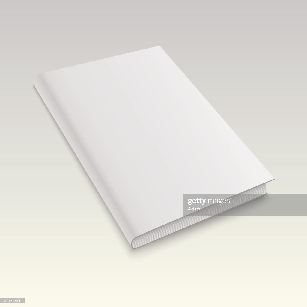 Blank book cover isolated on white background. Vector mock up illustration.