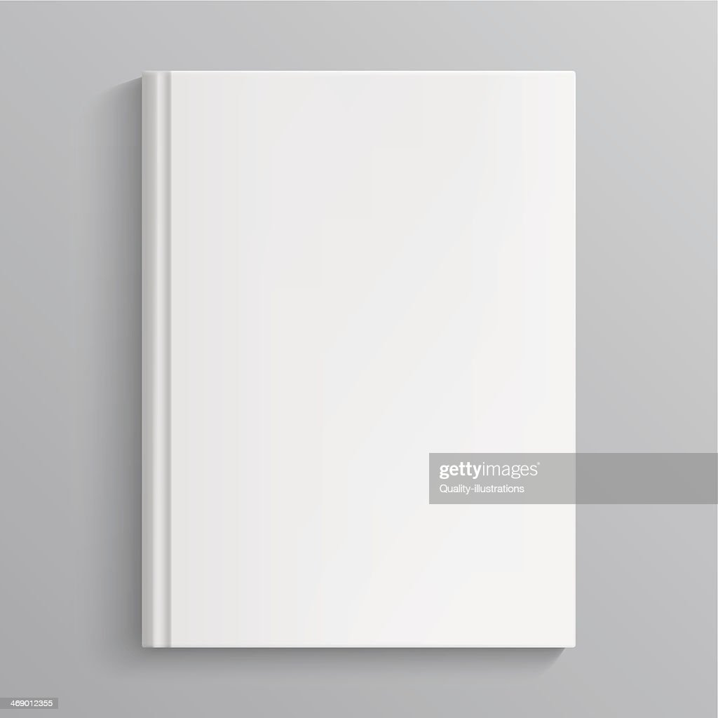 A blank book cover on a gray background