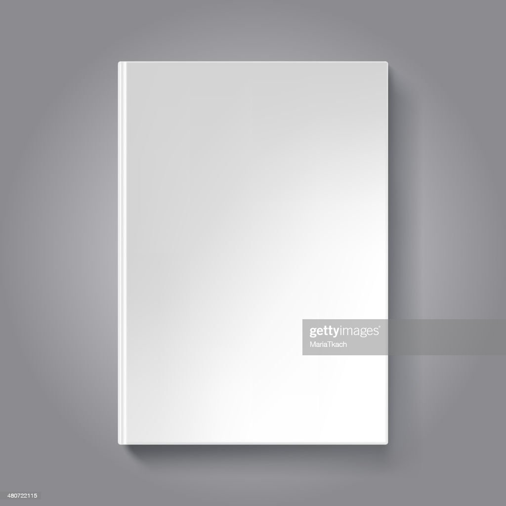 Blank book cover template. Book isolated on dark background.