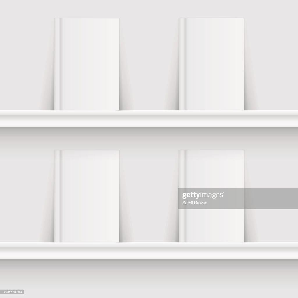 Leeres, weißes regal auf backsteinwandvektor. Leeres weißes