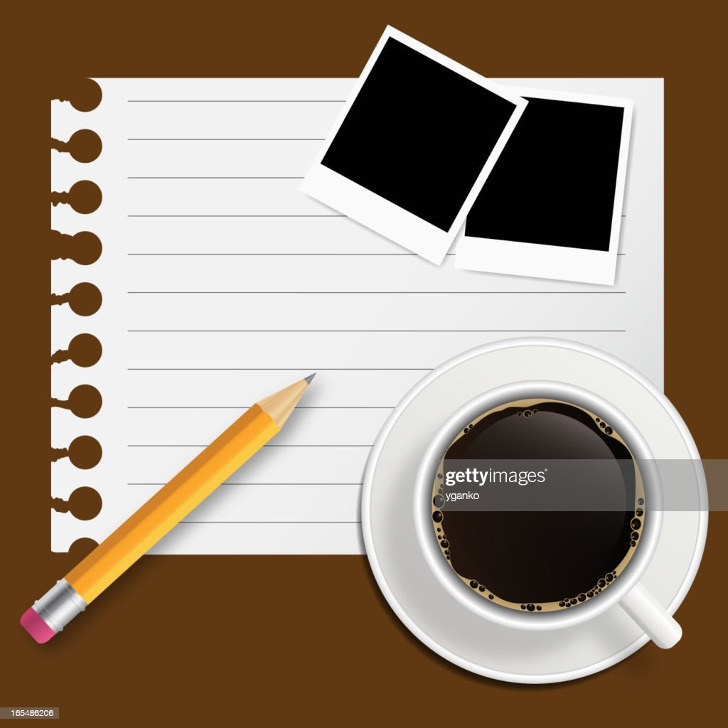 Blank book with coffee and photo frame vector illustration