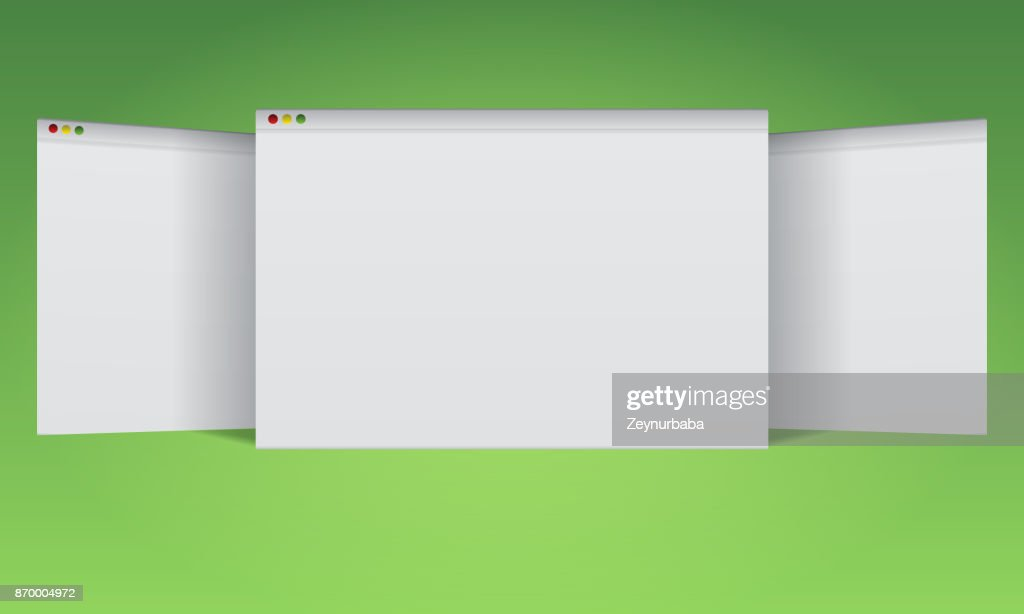 3 Blank browser windows mockup for your website advertisement layout.