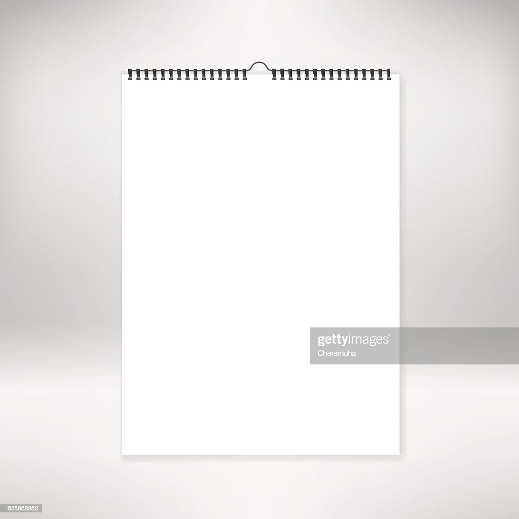 Blank calendar mock up, template. Sheets of paper with spiral