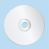 Blank CD Template on Blue Background With Shadow. Vector Illustration