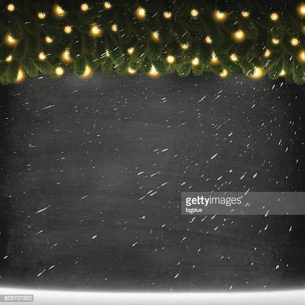 Blank Chalkboard Background with bright garland and snow, Blackboard texture