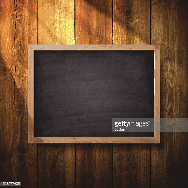 blank chalkboard on wooden wall - construction frame stock illustrations