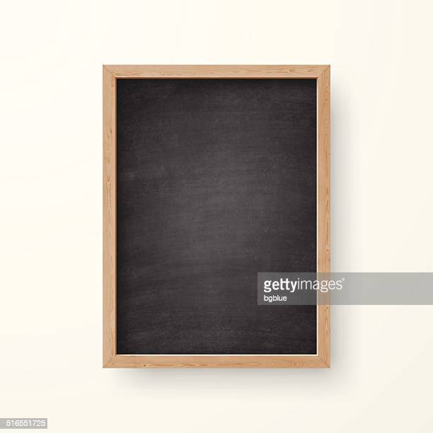 blank chalkboard with wooden frame on white background - vertical stock illustrations
