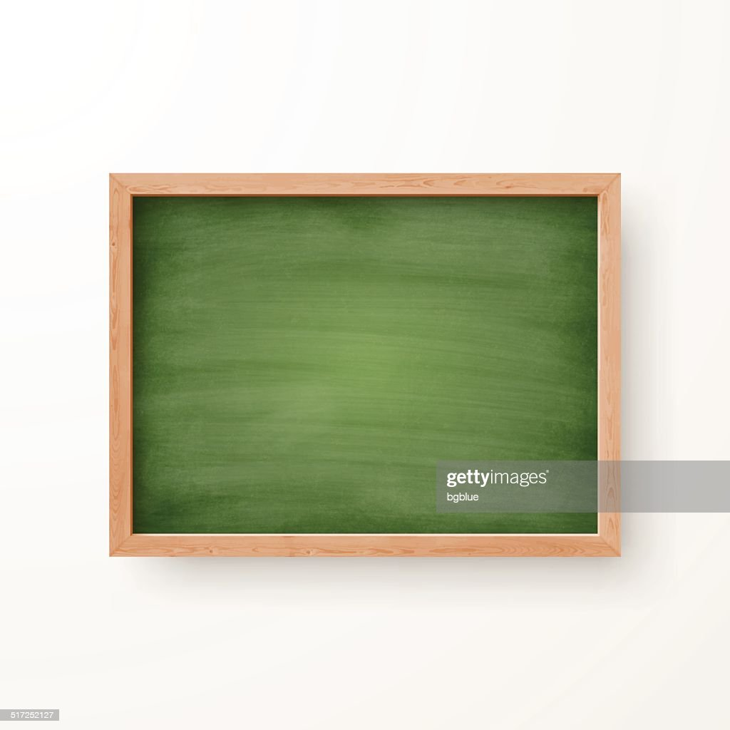 Blank Chalkboard with Wooden Frame on white Background.