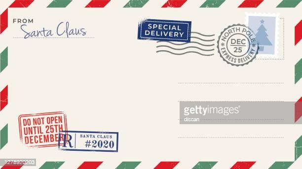 leere weihnachts-postkarte. - briefumschlag stock-grafiken, -clipart, -cartoons und -symbole
