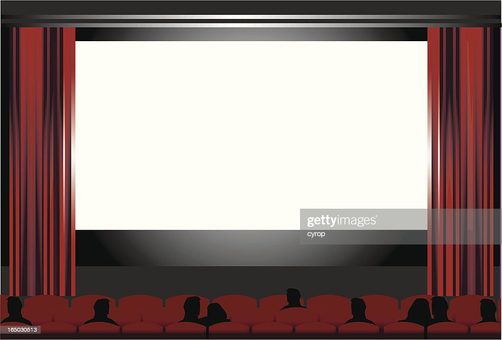 blank cinema screen, people at the movies   VECTOR : stock illustration