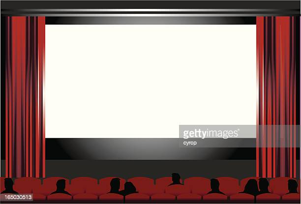 blank cinema screen, people at the movies   VECTOR