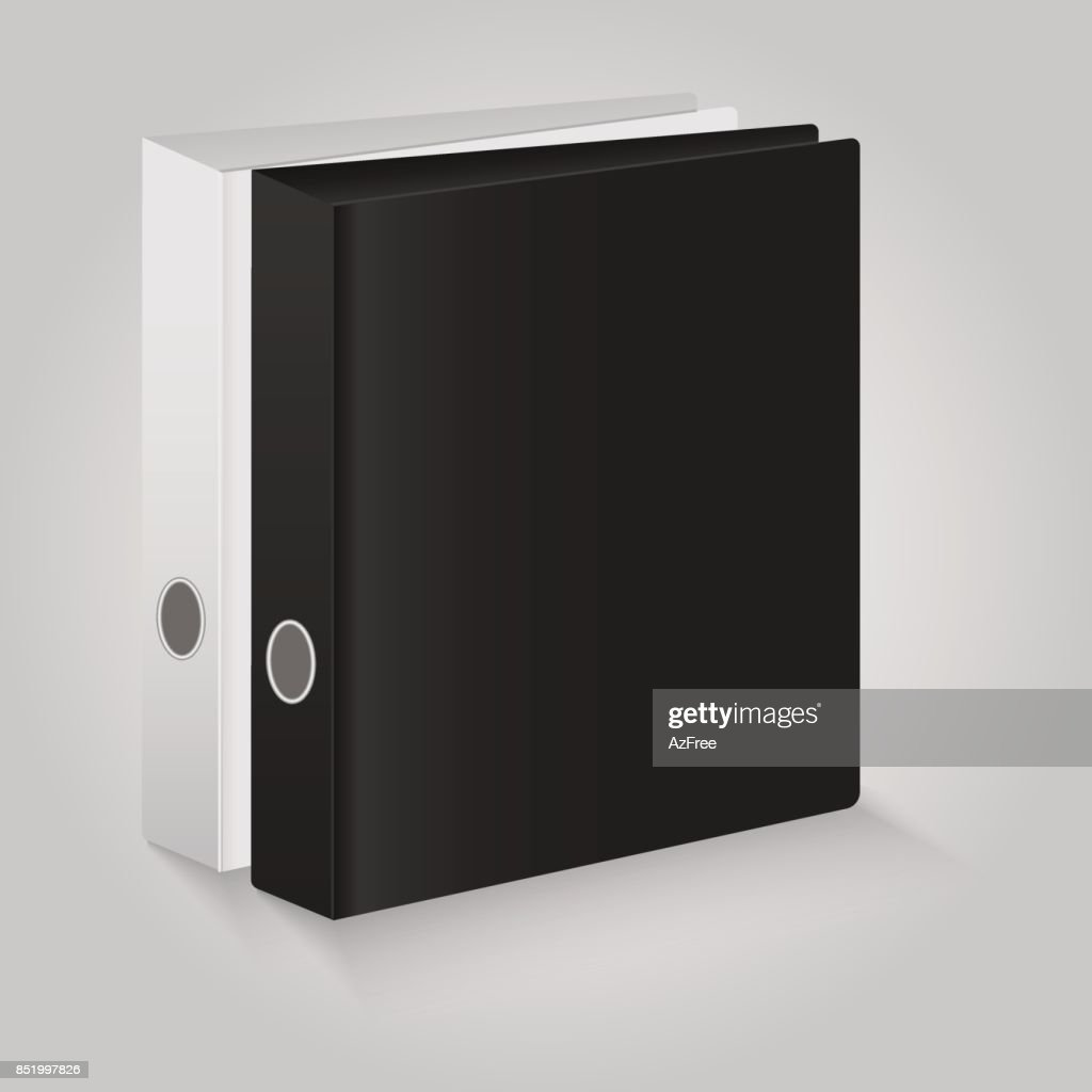Blank closed office binder. Black and white covers. Vector illustration.