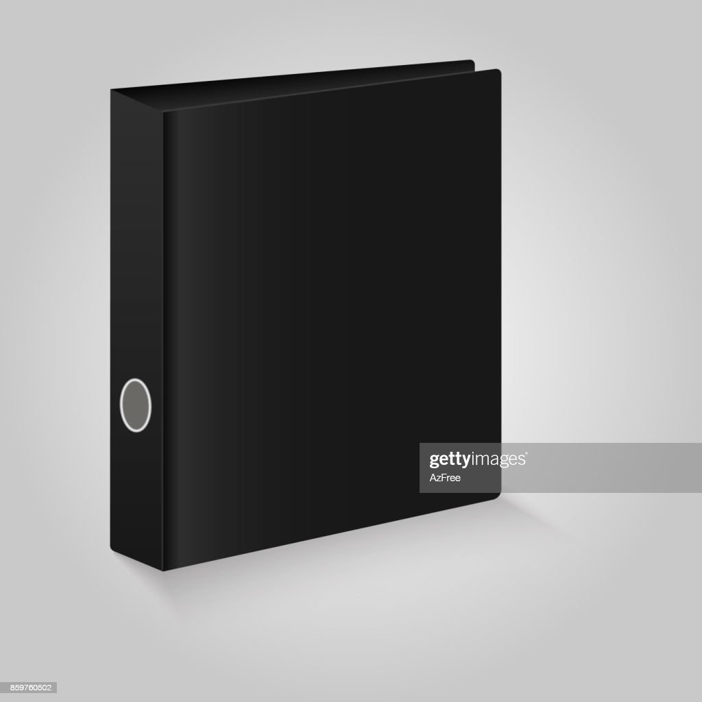 Blank closed office binder. Black covers.  Vector illustration.
