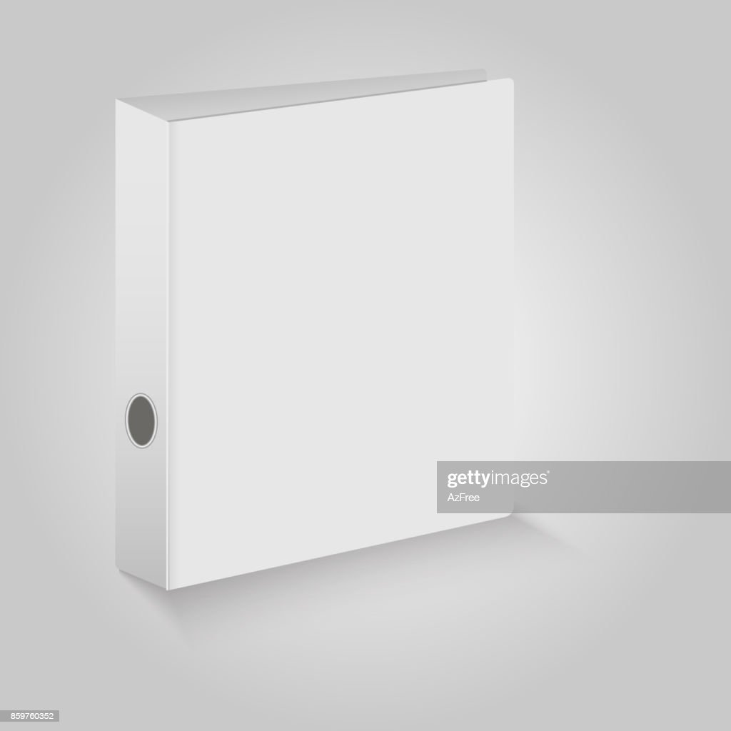Blank closed office binder. White covers.  Vector illustration.