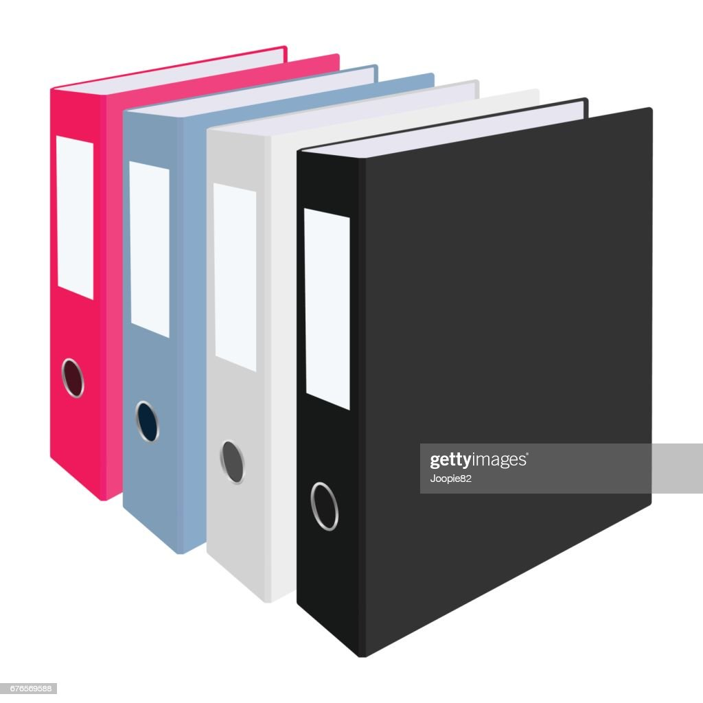 Blank closed office binders set isolated on white background. Vector illustration.