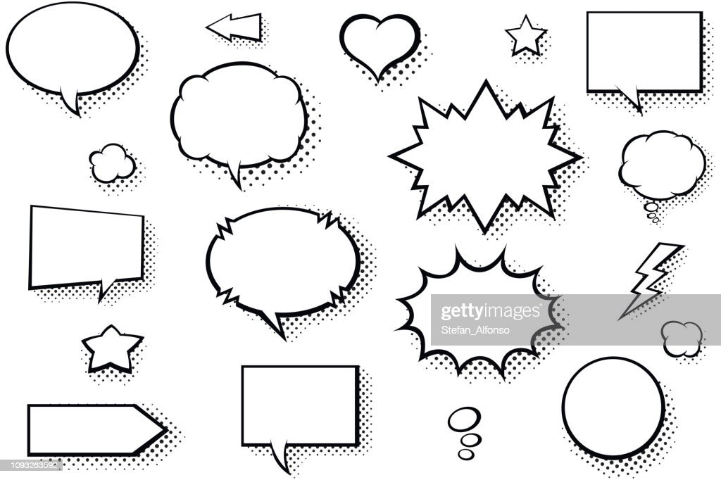 Blank comic books speech bubbles. Black and white speech balloons with halftone pattern shadows : Stock Illustration