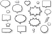 Blank comic books speech bubbles. Black and white speech balloons with halftone pattern shadows