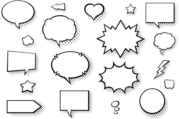 blank comic books speech bubbles. black and white speech balloons with halftone pattern shadows - bubble stock illustrations