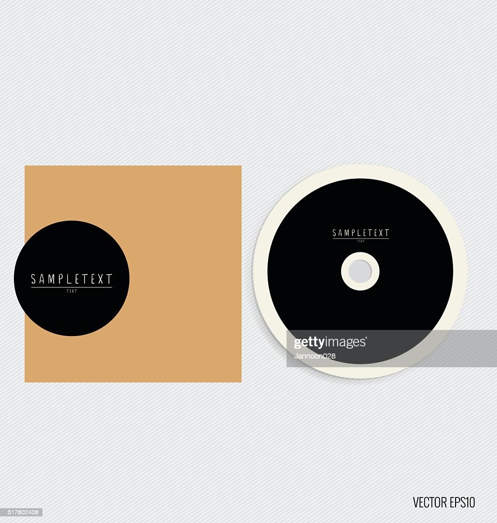 Blank compact disk with cover mock up template.