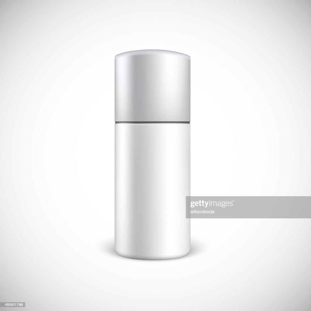 Blank cosmetics bottle in grey and white on white background