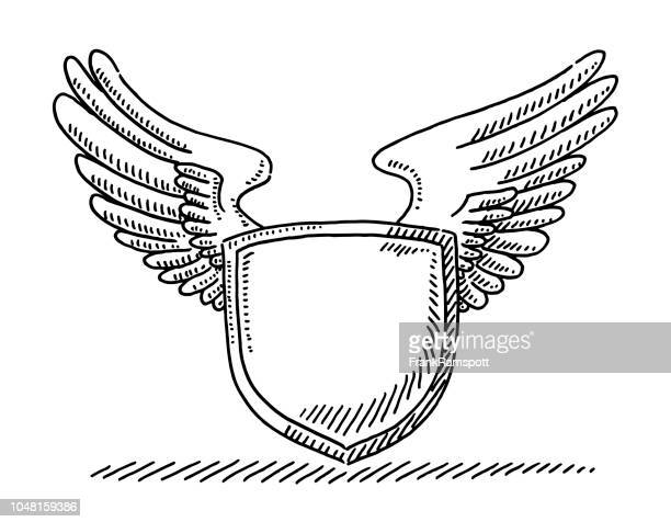 blank crest with wings drawing - animal wing stock illustrations