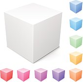 Blank cube and a set of colorful ones