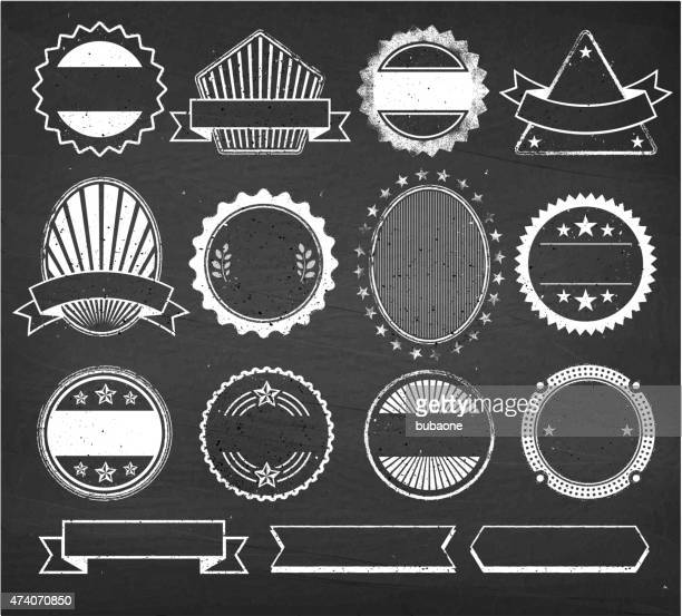 blank custom vintage badge royalty free vector set - chalk art equipment stock illustrations, clip art, cartoons, & icons