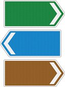 Blank directional road signs with reflection detail