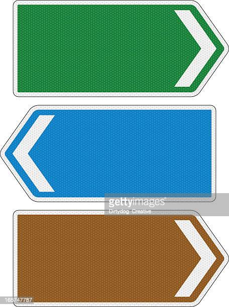 blank directional road signs with reflection detail - directional sign stock illustrations