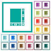Blank document with scroll bars flat color icons with quadrant frames