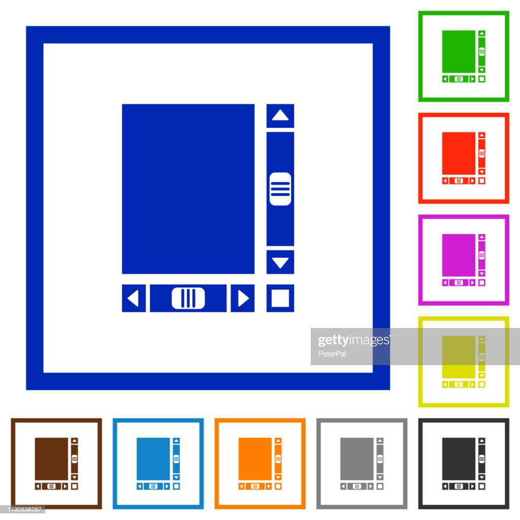 Blank document with scroll bars flat framed icons