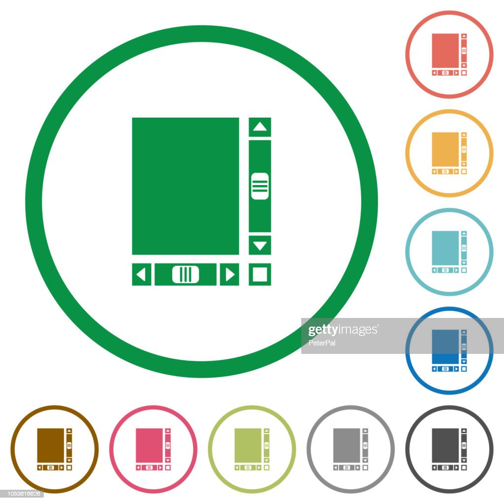Blank document with scroll bars flat icons with outlines