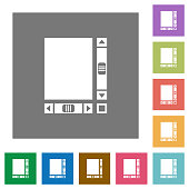Blank document with scroll bars square flat icons