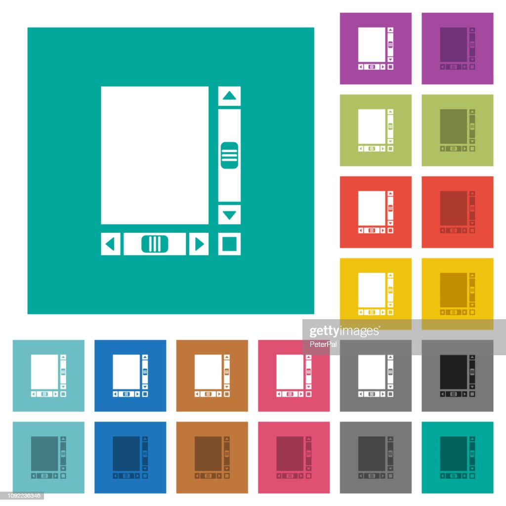 Blank document with scroll bars square flat multi colored icons