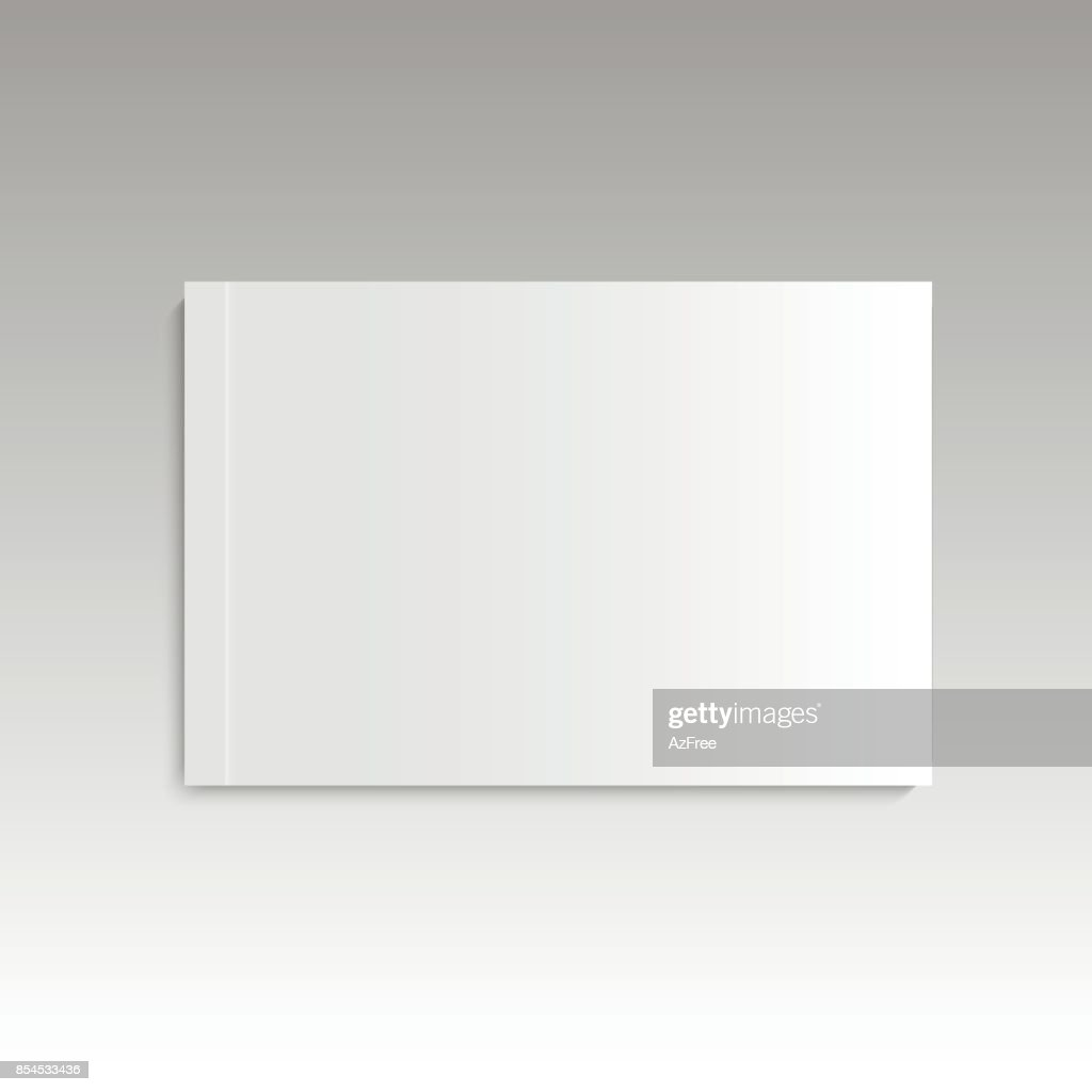 Blank Empty Magazine Album Or Book Template Lying On A Gray