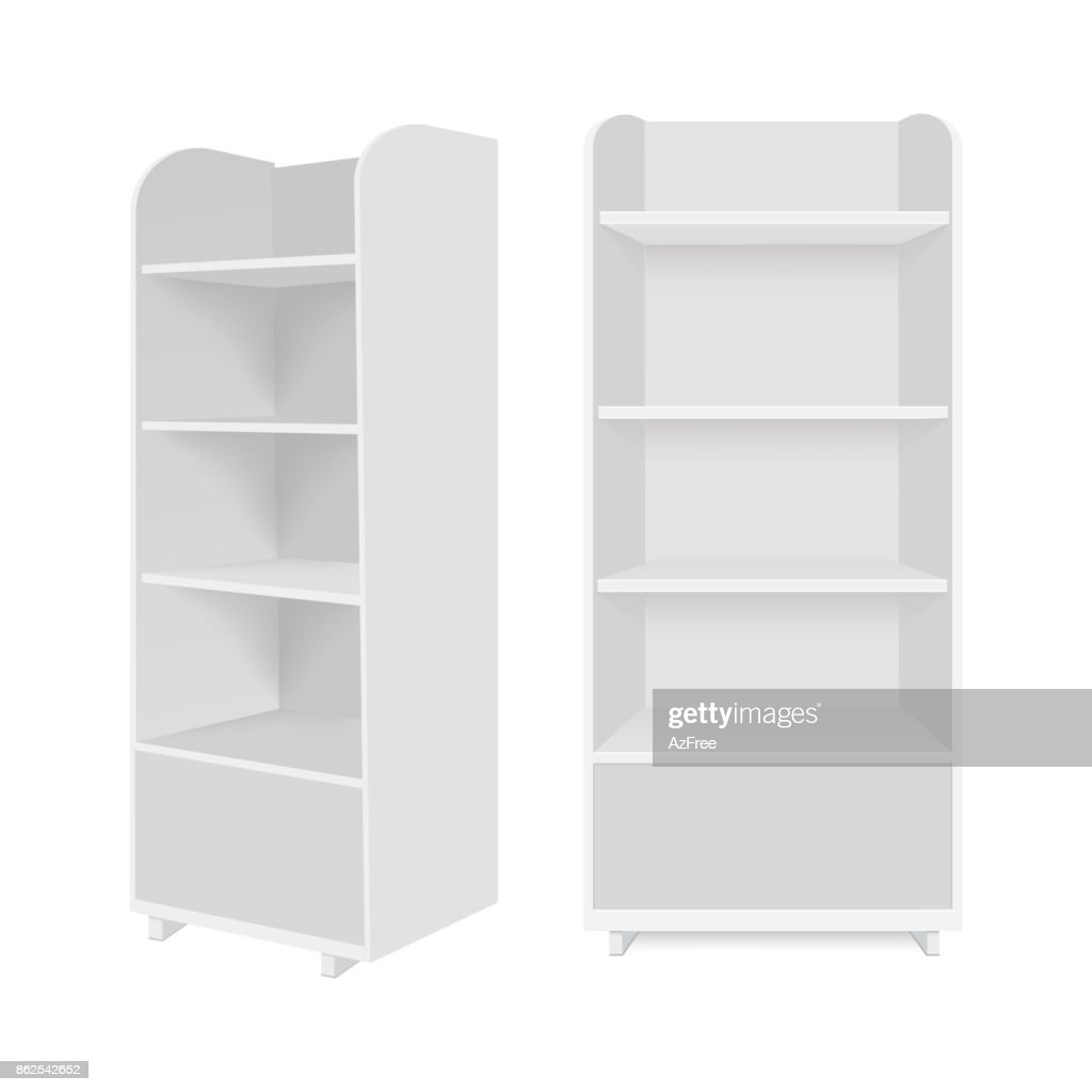 Blank empty showcase display with retail shelves. Vector mock up template ready for your design.
