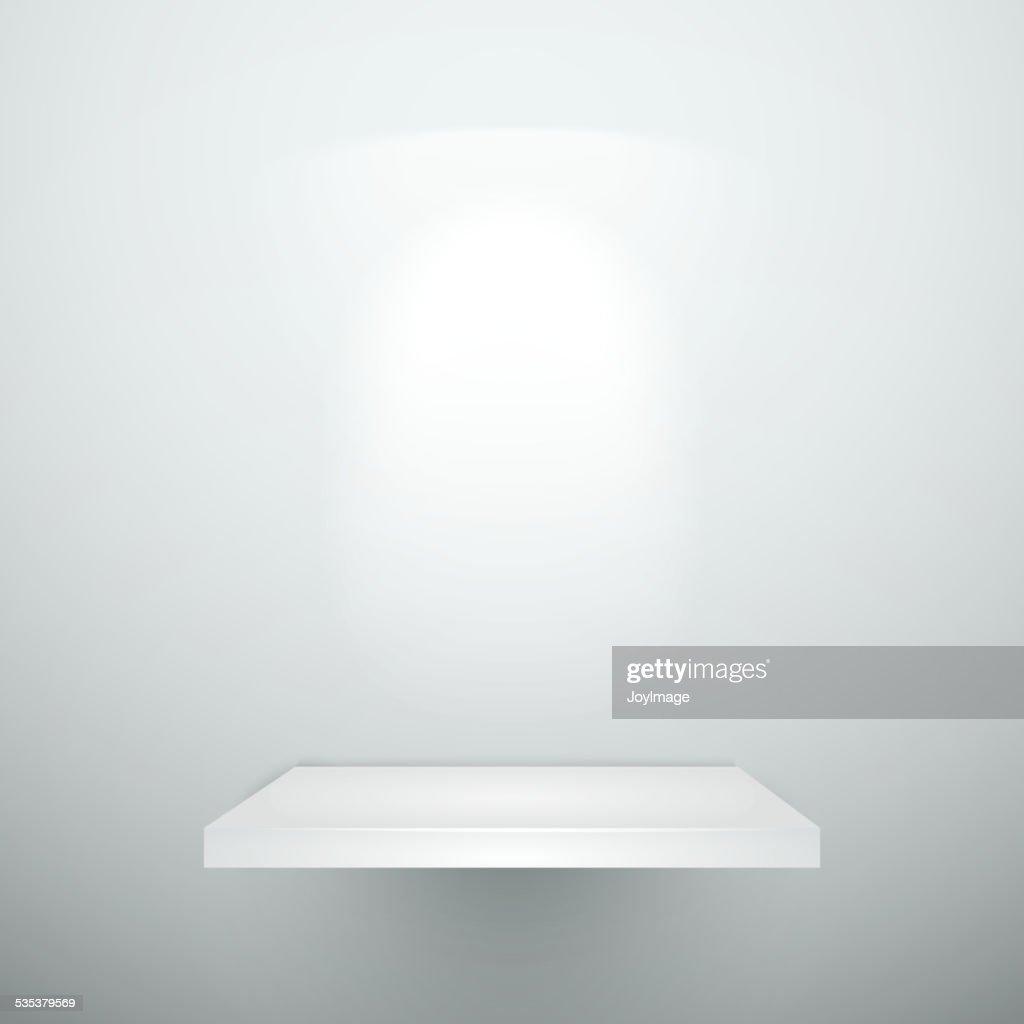 Blank Empty White Wooden Shelf Vector Art