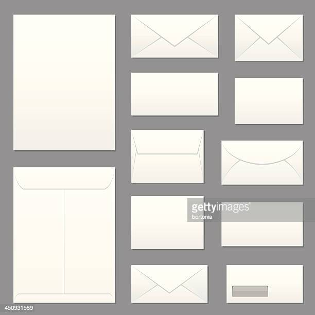 blank envelopes icon set - envelope stock illustrations, clip art, cartoons, & icons