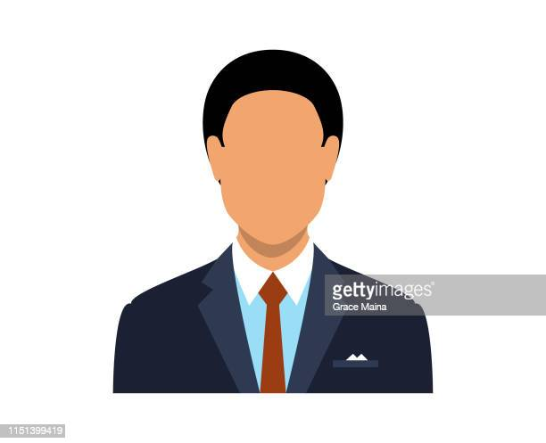 blank face avatar of a man - one man only stock illustrations