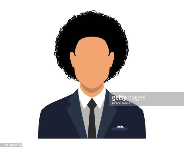 illustrazioni stock, clip art, cartoni animati e icone di tendenza di avatar viso bianco di un uomo con stile capelli afro - rivolto verso l'obiettivo