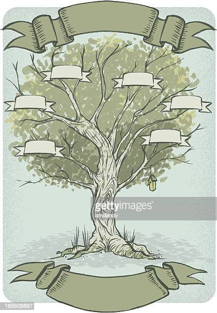 blank family tree ready to be filled in - family tree stock illustrations, clip art, cartoons, & icons