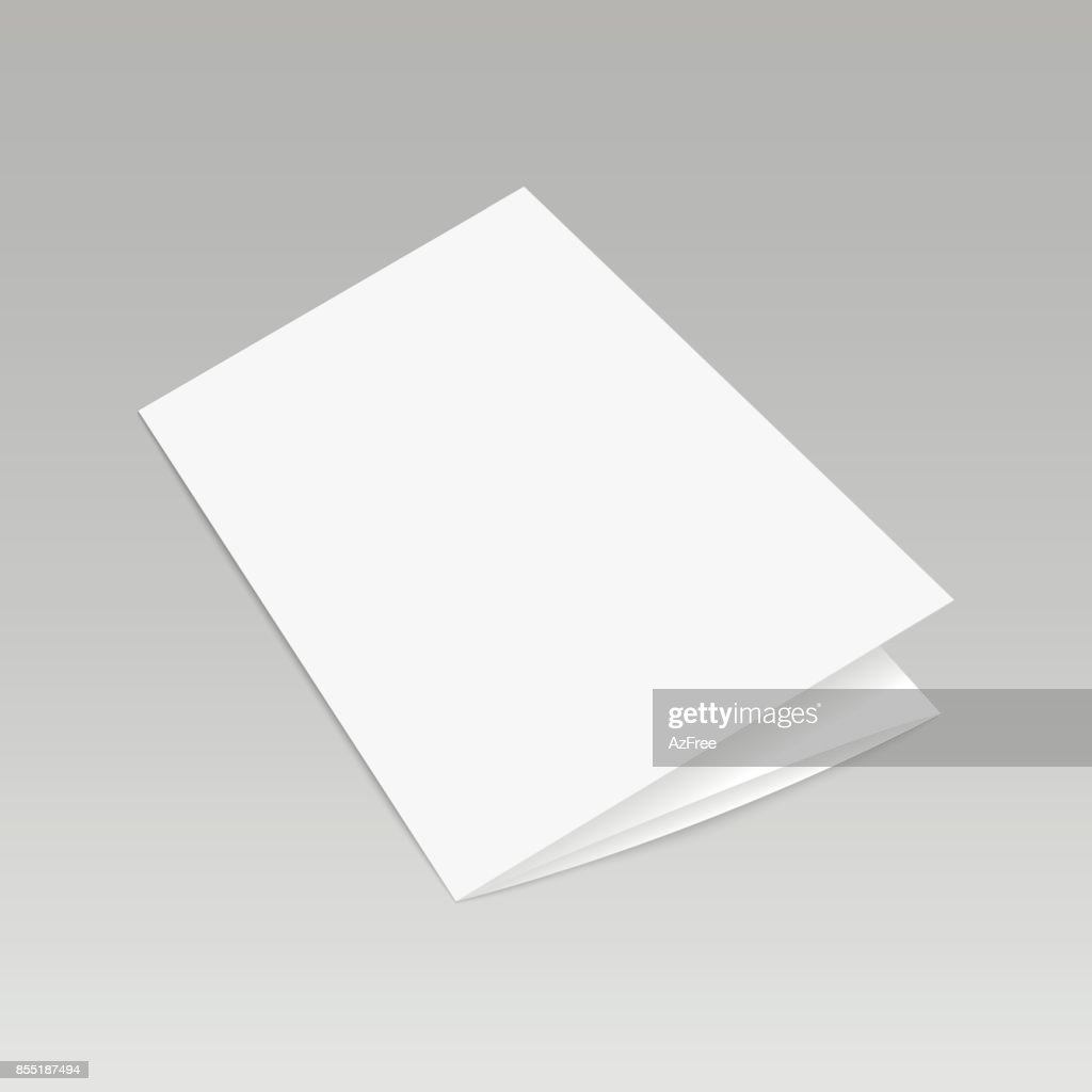 Blank folded leaflet white paper template ready for your business. Vector illustration