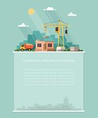Blank for text. Home construction. Equipment heavy lifting crane on the background of the city. Flat vector Infographics design