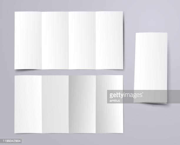 blank fourfold brochure - foldable stock illustrations