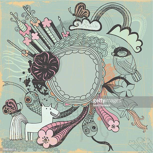 Blank frame surrounded with variety of doodle animals and plants
